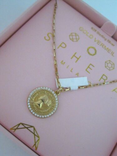 Sphera Milano 14K Gold/Sterling Silver CZ Coin Disc Paperclip Chain Necklace 925