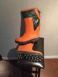Viking chainsaw safety and caulked logging boots