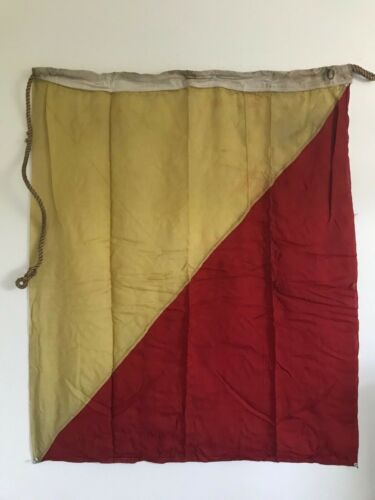 ANTIQUE LINEN RED & GOLD FLAG  36 x 42  w/  MARKING