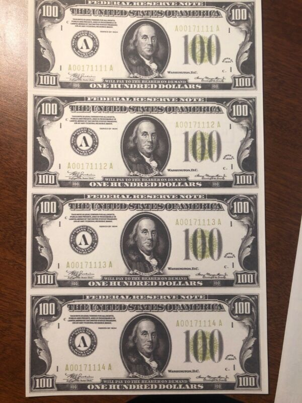 Copy 1934 $100 Green Seal Uncut Reproduction Currency Money Sheet
