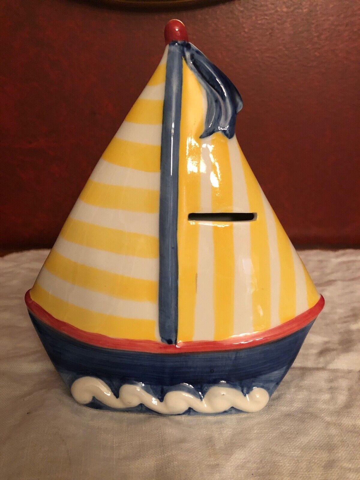 Andrea Sadek Sailboat Coin Bank, Blue Hull With Yellow Striped Mast - $9.95
