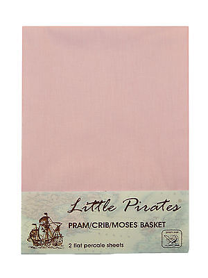 2 x Baby Pram/Crib/ Moses Basket  Flat Sheet 100% Luxury Cotton Pink