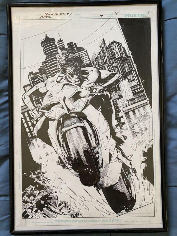 Batman Battle For The Cowl Original Art Tony Daniel Nightwing Splash Page Cover