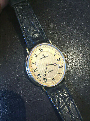 Vintage SWISS Movado Womens Watch in Gold / Leather Band