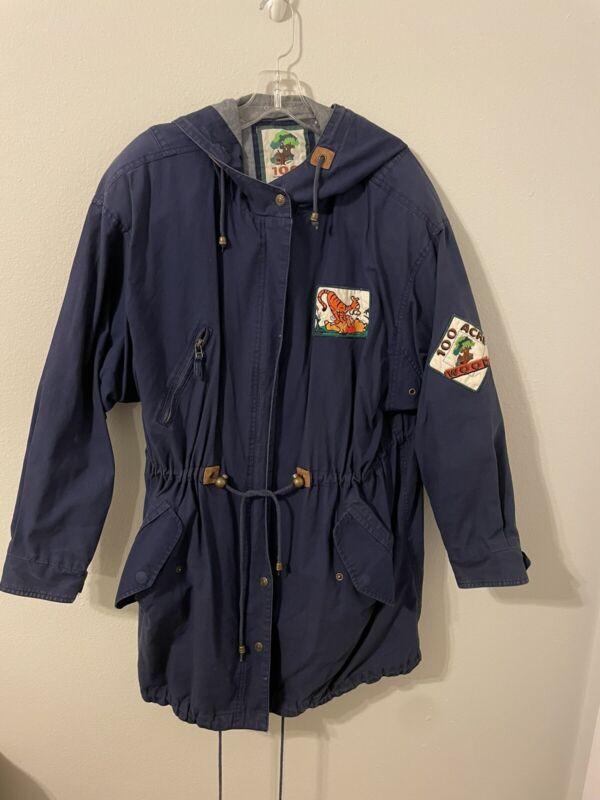 VIntage Disney 1990s Pooh/Tigger 100 ACRE WOOD Map Hooded Coat Medium