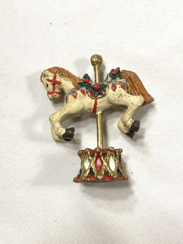 RUSS nostalgic treasury christmas mini figurine carousel horse