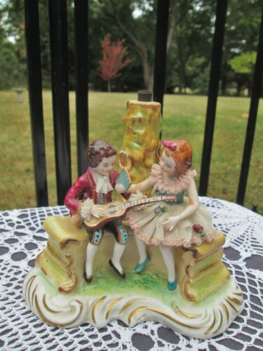 Antique Dresden Germany Miniature Figural Lamp Girl & Boy Playing Music Figurine