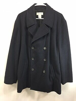 J Crew Pea Coat Jacket Mens Large Navy Blue Wool Blend Double Breasted Dock for sale  Windham