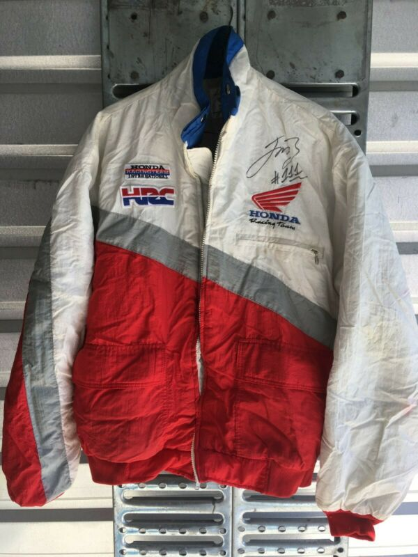 Vintage 1991 Honda Racing Team Jacket Jean Michel Bayle signed