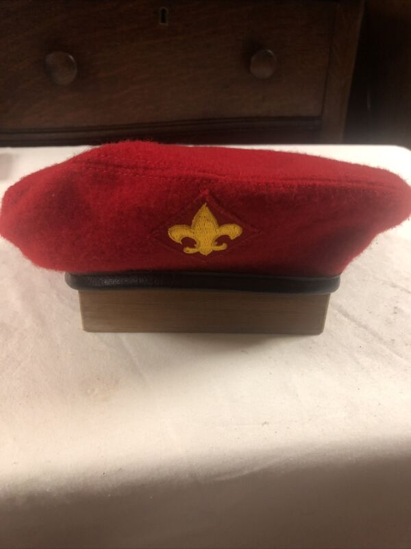VTG Official Headwear BSA Boy Scouts Of America Red 100% Wool Beret Hat ~Large