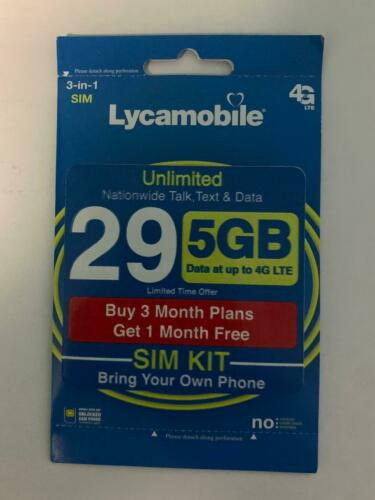 Lycamobile Preloaded Sim $29 x 3 + 1 Extra month Free (4 Months 5GB Per Month)