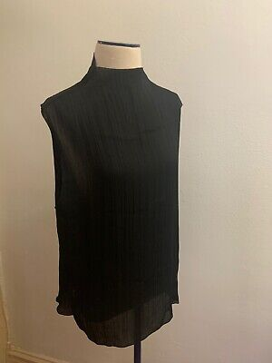 H&M Women's Top Size 8 Black Sleeveless Pleated Sheer