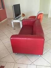 Ikea red leather 2 seated sofa Tuart Hill Stirling Area Preview