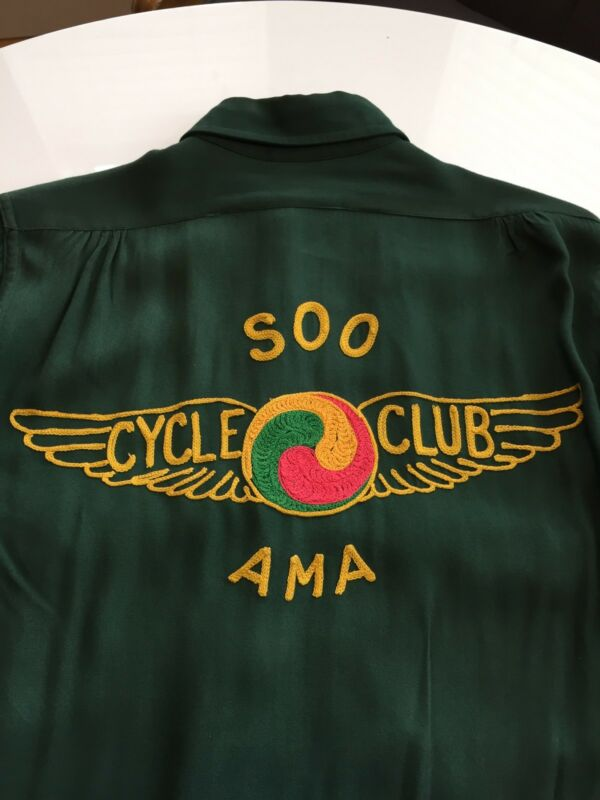 1930's SOO CYCLE CLUB AMA GABARDINE MOTORCYCLE CLUB TOUR SHIRT!  VINTAGE MC!