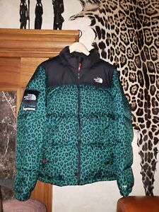 d1846bef7f Supreme North Face Leopard Nuptse Jacket Sz XL TNF Puffer Green