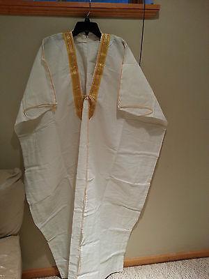 Men Christmas nativity shepherd church religious play gown cream gold free ship - Religious Christmas Plays