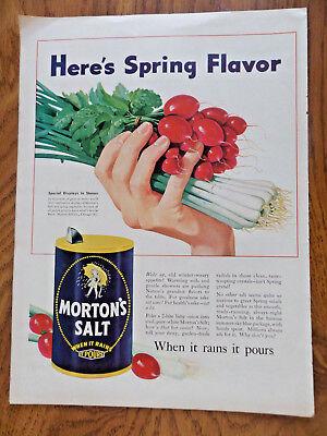 1946 Morton's Salt Ad  Here's Spring Flavor