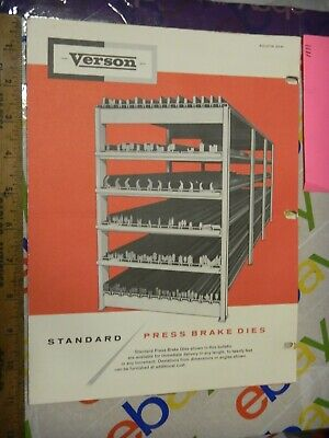 Verson Allsteel Press Die Manual Sale Ad Co Guide Order Form 1960s Brake Sd-61