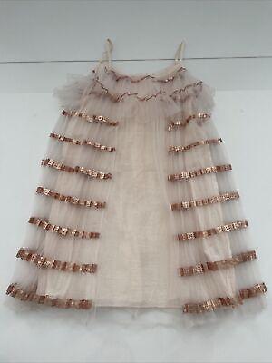 CHLOE Girls Size 6 Peach & Rose Gold Sequin Dress
