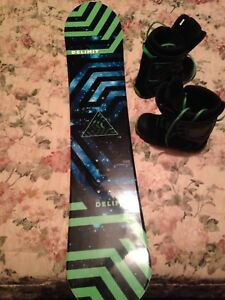 Boys snowboard and boots