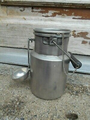 Vintage French pewter milk churn small kitchen storage stamped with ladle