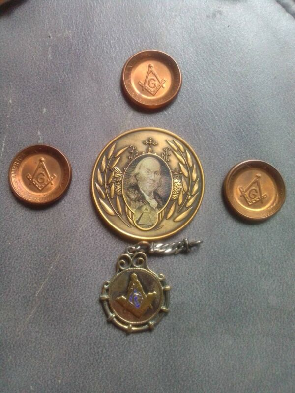 Masonic Coin And Pendant Lot of 5 Ben Franklin Penny And Symbol