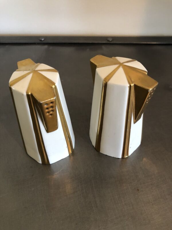 Art Deco Lenox Gold Offwhite Salt & Peppers Vintage Double Sided