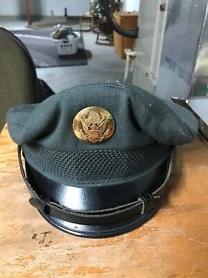 VINTAGE US ARMY SERGE MILITARY CAP MEN'S 6 7/8 HAT  Green