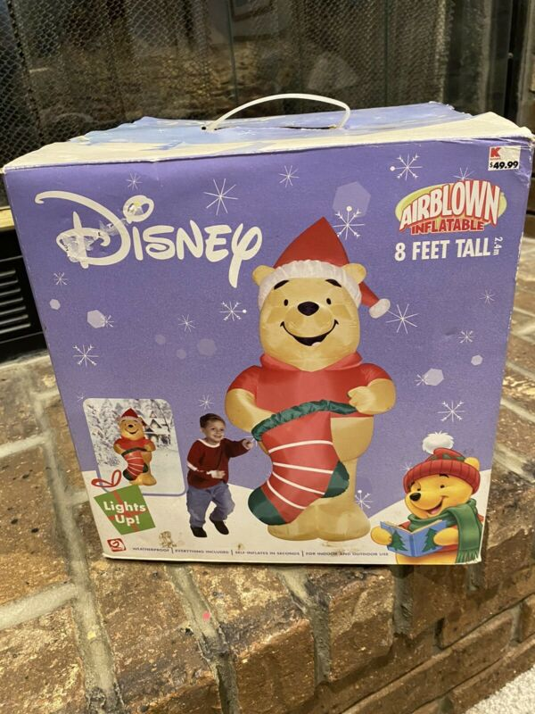 Gemmy Airblown Inflatable Winnie the Pooh With Christmas Hat And Stocking Disney