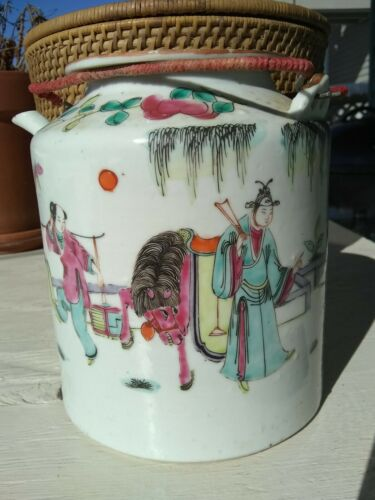Antique Chinese Porcelain Teapot Tongzhi Guangxu Famille Rose