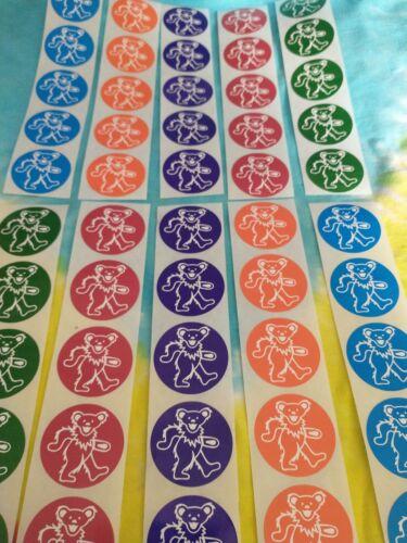 50 Grateful Dead Assorted Colors Mini 1.5 Inch Dancing Bear Stickers