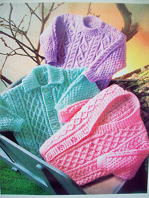 Baby girls boys Cable JUMPER CARDIGAN KNITTING PATTERN DK 16 - 22in 0 - 2yrs