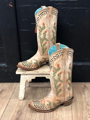 Ivory Womens Boots - Corral Women's Ivory Nopal Cactus Studded Snip Toe Western Boots C3463