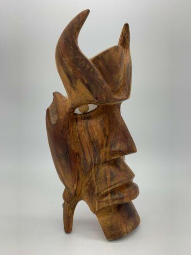 """Vintage Wood Hand Carved Devil/Satan Mask Wall Hanging Mexican Folk Art Oak 11"""""""