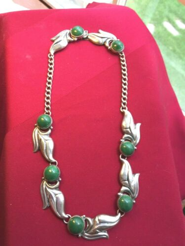 Vintage Signed Mexican Sterling Silver & Green Stones Necklace