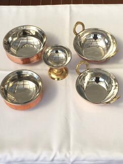 Copper base serving dishes & Dosa grinder