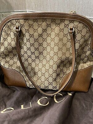 GUCCI Brown GG Web Monogram Canvas Dome Satchel Tote Bag