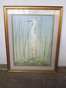 C44049 Large Gold Framed IBIS Bird Print Art Mount Barker Mount Barker Area Preview