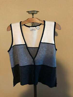 wool blen dblack white gray MIXIT sweater vest size large