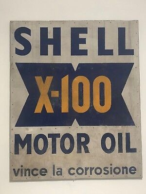Original SHELL Sign X-100 Vintage Race Banner F1 Targa Florio Mille Miglia 1950s