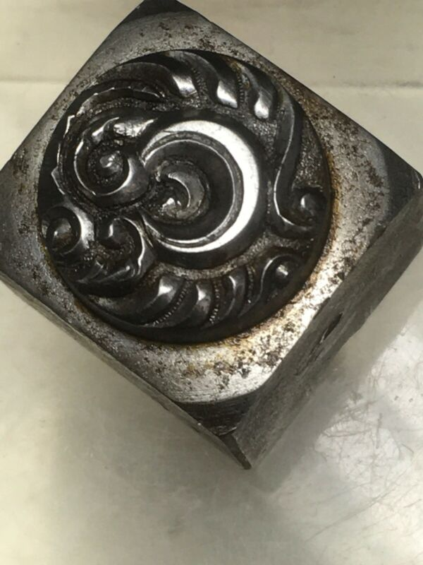 Antique 1900 Hand Cut Steel Hub 1/4 Moon For Jewelry Stamp #79