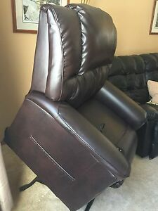 Brown Leather Power Lift Recliner
