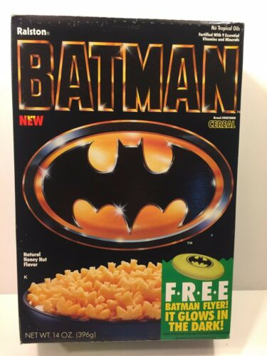 1989 Vintage Ralston BATMAN (Glow-in-the-Dark Flyer) Cereal Box RARE!