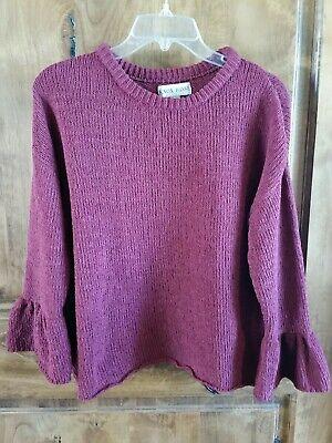 Knox Rose Raspberry Pink Bell Sleeve Long Sleeve Lightweight Sweater Size (Bell Lightweight Sweater)