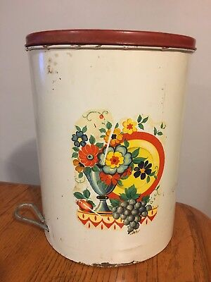 Vtg 40's-50's Metal White & Red Kitchen Trash Garbage Can w/ Step Lid
