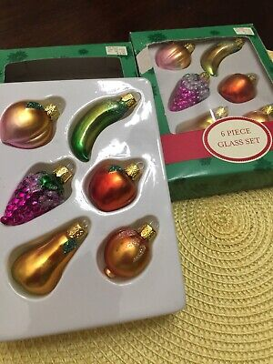 12 - Piece Mini Christmas Ornament Set FRUITS in Box (2 Sets) ()