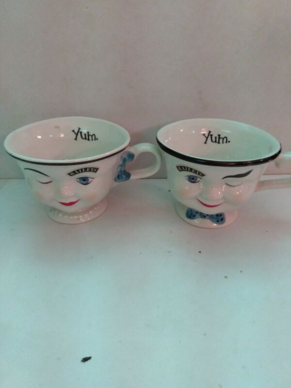 Baileys Vintage Mr. & Mrs -  Yum Winking Face  Coffee Mug Cups-  LIMITED EDITION
