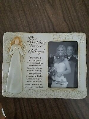 Guardian Angel Picture Frame - 4x6 Wedding Guardian Angel Picture Frame, Cream with Lace Detailing