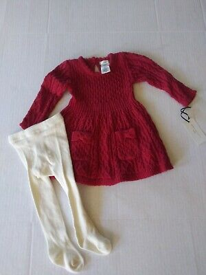 Max Studio Girl's Sweater Dress Tights Set Holiday Christmas New Size 3-6 Mos.