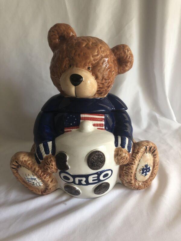 "2002 CERAMIC ""OREO"" PATRIOTIC TEDDY BEAR COOKIE JAR #31875"